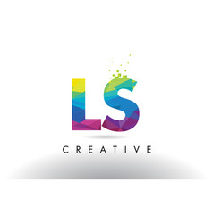 Ls l s colorful letter origami triangles design vector