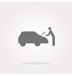 man and car on web icon button isolated on vector image