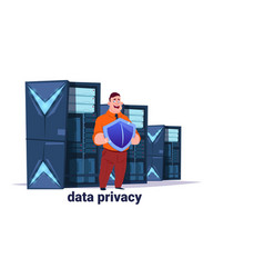 man with shield on data storage center with vector image