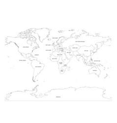 Map world divided into regions thin black vector