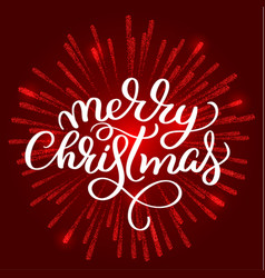 Merry christmas white text on on red fireworks vector