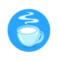 milk market logotype with hot cup fresh milk vector image