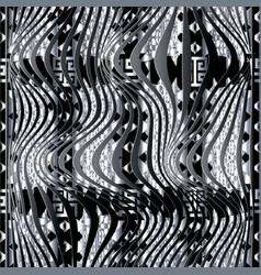 modern geometric 3d waves seamless pattern tribal vector image