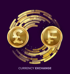 Money currency exchange gbp franc golden vector