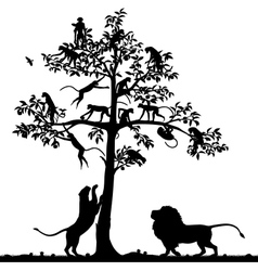 Monkeys and lions vector image