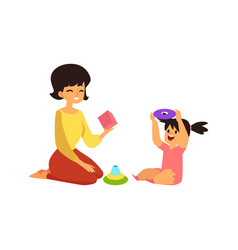 mother and child playing learning games happy vector image