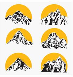 mountains silhouettes logo vector image