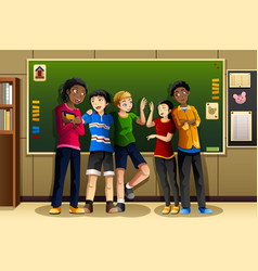 Multi-ethnic students in the classroom vector