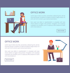 Office work posters dreaming males sitting at work vector