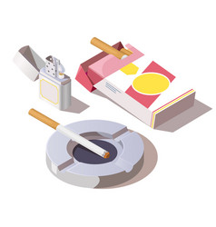 Pack cigarettes gas lighter and ashtray vector