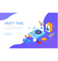 Party time - modern colorful isometric web banner vector