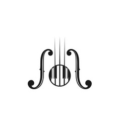 Piano and guitar musical instrument logo design vector