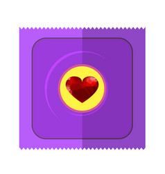 Pink condom wpapper with red heart vector