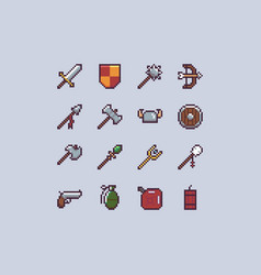 pixel weapons icon set vector image
