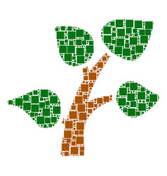 plant tree mosaic of squares and circles vector image