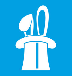 Rabbit appearing from a top magic hat icon white vector