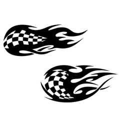 Racing flag with flames vector