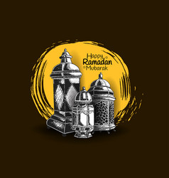 Ramadan mubarak lantern hand drawing isolated vector