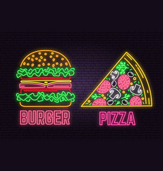 retro neon burger and pizza sign on brick wall vector image