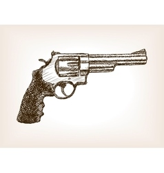 Revolver pistol sketch style vector image