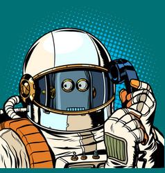 Robot astronaut talking on phone vector
