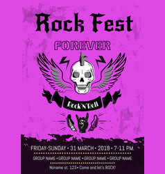 Rock fest forever announcement vector