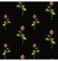 Rose pattern on black with dots vector