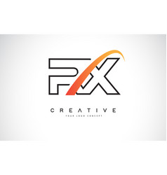 Rx r x swoosh letter logo design with modern vector