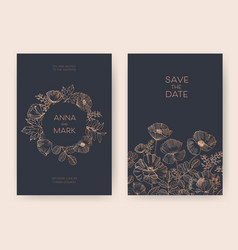 save the date card or wedding invitation templates vector image