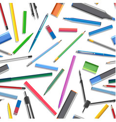 Seamless background of set of different pens vector