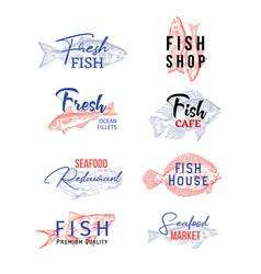 set isolated icons with fish sketches food vector image