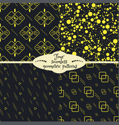 Set of four yellow geometric seamless patterns vector