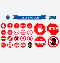 set stop sign vector image
