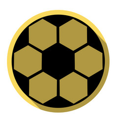 soccer ball sign flat black icon with vector image