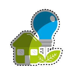 Sticker green house with save bulb plant with vector