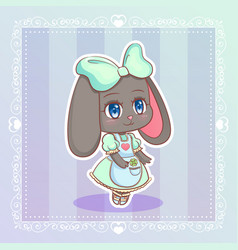 sweet rabbit little cute kawaii anime cartoon vector image