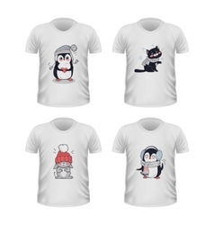 T-shirt Front View with Animals Isolated on White vector