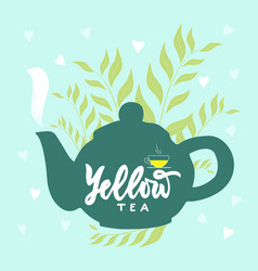 Template package with hand draw teapot text vector