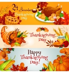 Thanksgiving Day banners with traditional elements vector
