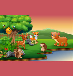 the animals cartoon are enjoying nature by the riv vector image