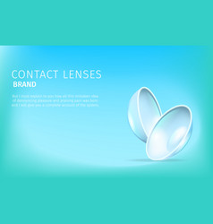 two isolated contact lenses on blue background vector image