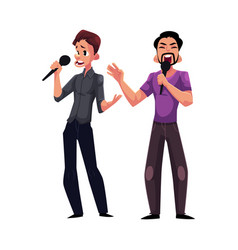 Two men guys singing in duet karaoke party vector