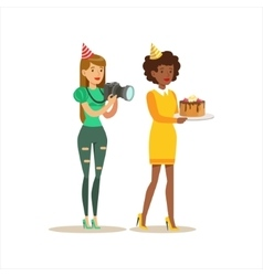 Two Women Taking Pictures And Bringing Cake Kids vector