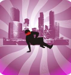 Urban background break dancer vector