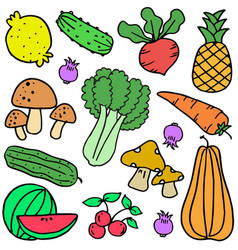 Vegetable colorful doodle set vector