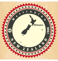 Vintage label-sticker cards of New Zealand vector image