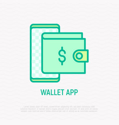 wallet app thin line icon vector image