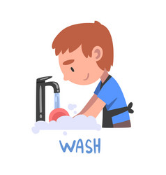 Wash word verb expressing action vector