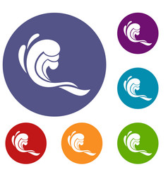 water wave icons set vector image