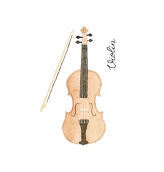 Watercolor violin on the white background vector image